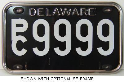 5 Digits Or Less Delaware Black White Stainless Steel Registration Plate